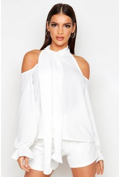 Womens Ivory Tie Neck Cold Shoulder Woven Top