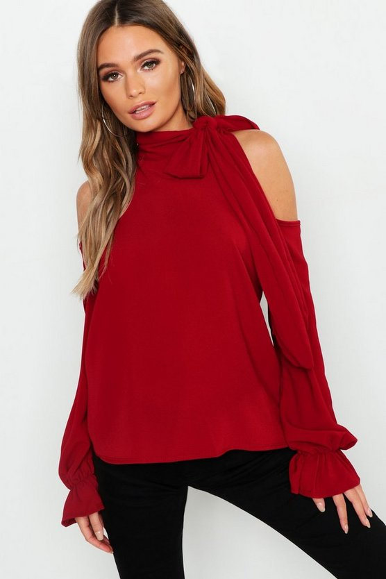 Tie Neck Cold Shoulder Woven Top