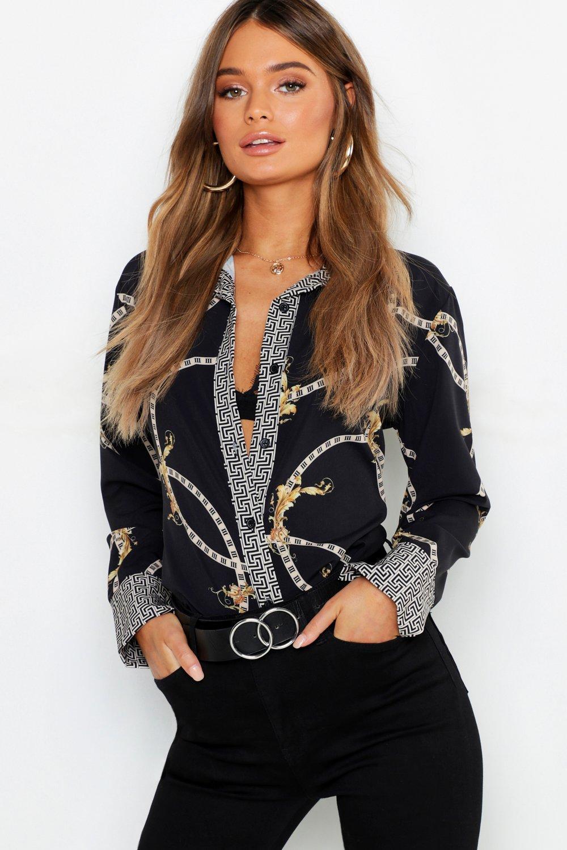 70s Clothes | Hippie Clothes & Outfits Womens Geo Contrast Chain Print Shirt - Black - 14 $20.00 AT vintagedancer.com