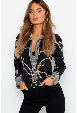 Womens Black Geo Contrast Chain Print Shirt
