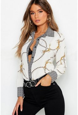 Womens White Geo Contrast Chain Print Shirt