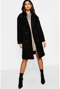Oversized Collar Wool Look Coat, Black, Donna