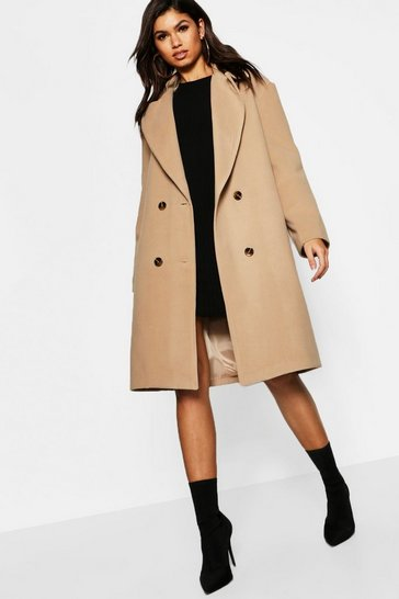 Womens Camel Oversized Collar Wool Look Coat