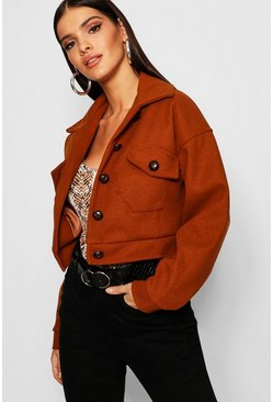 Womens Tobacco Oversized Wool Look Trucker