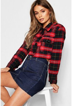 Womens Red Tartan Crop Trucker Jacket