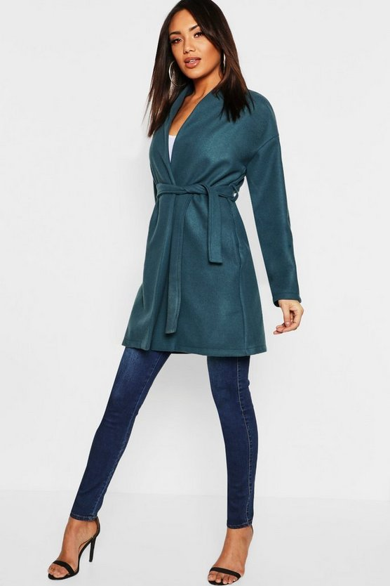 Collarless Belted Wrap Wool Look Coat