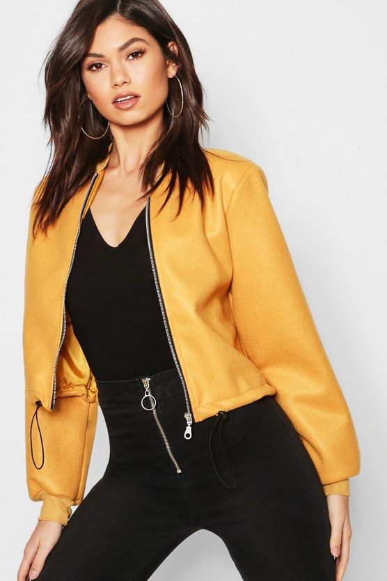 Womens Mustard Crop Wool Look Bomber Jacket