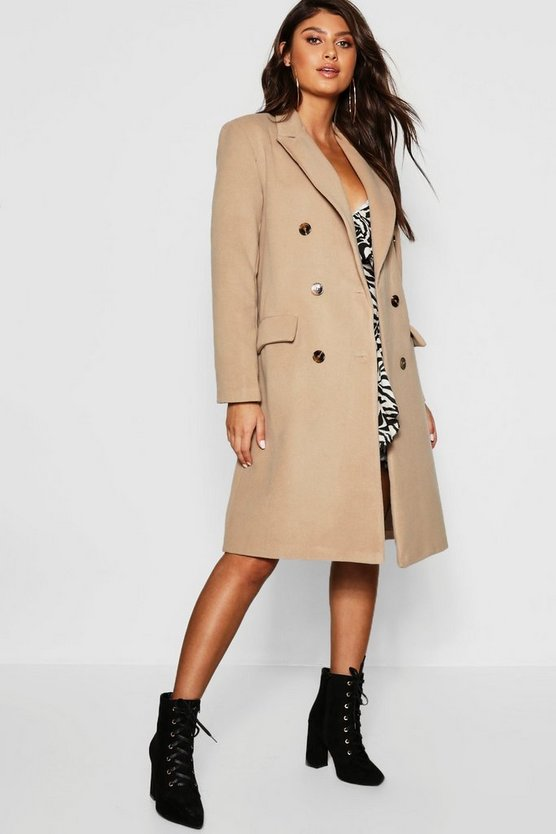 Womens Camel Double Breasted Wool Look Coat