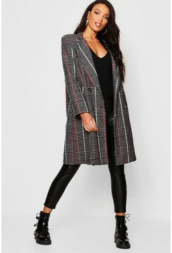 Womens Black Double Breasted Check Wool Look Coat