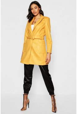 Womens Mustard Belted Wool Look Coat