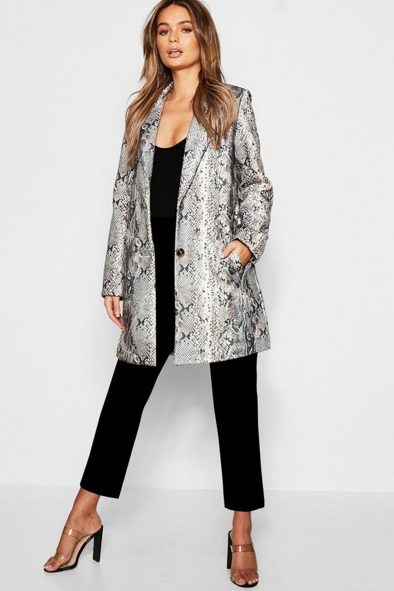 Snakeskin Wool Look Coat, Grey, Женские