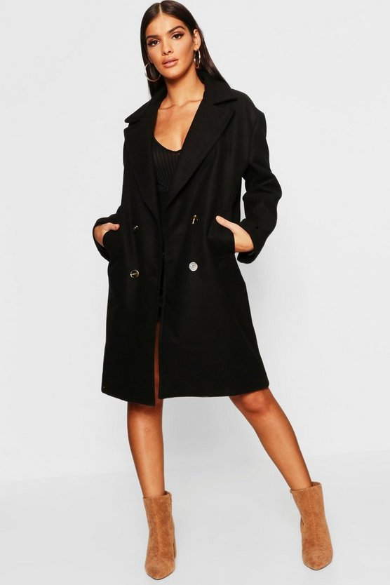 Womens Black Double Breasted Oversized Wool Look Coat
