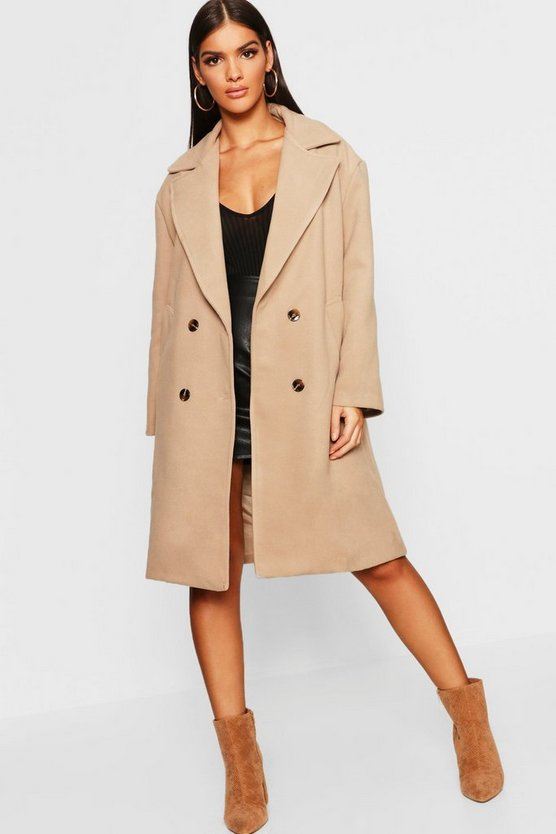 Womens Camel Double Breasted Oversized Wool Look Coat