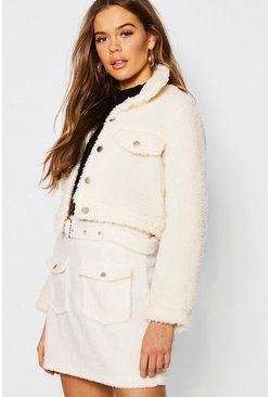 Womens Cream Teddy Faux Fur Trucker