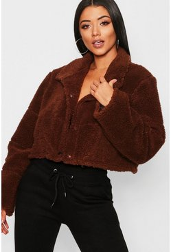 Womens Chocolate Crop Fleece Puffer Jacket