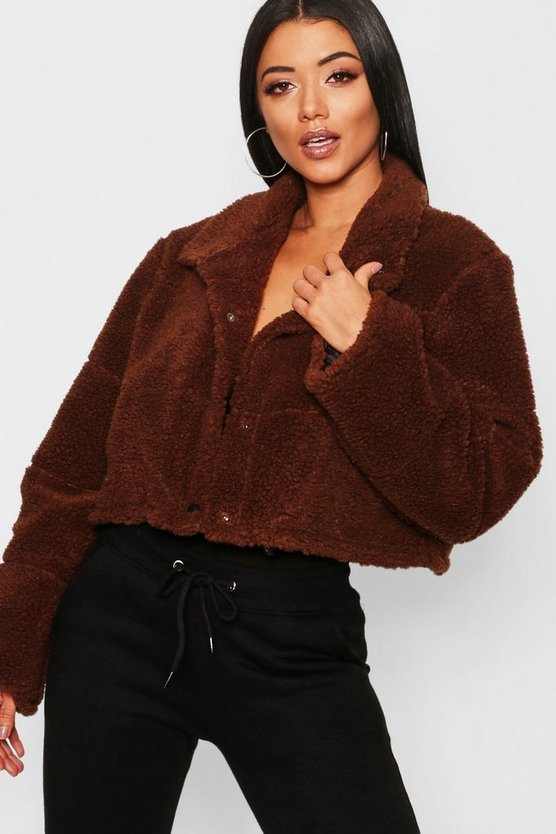 Crop Fleece Puffer Jacket