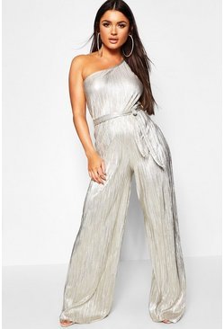 Gold Metallic Plisse One Shoulder Jumpsuit
