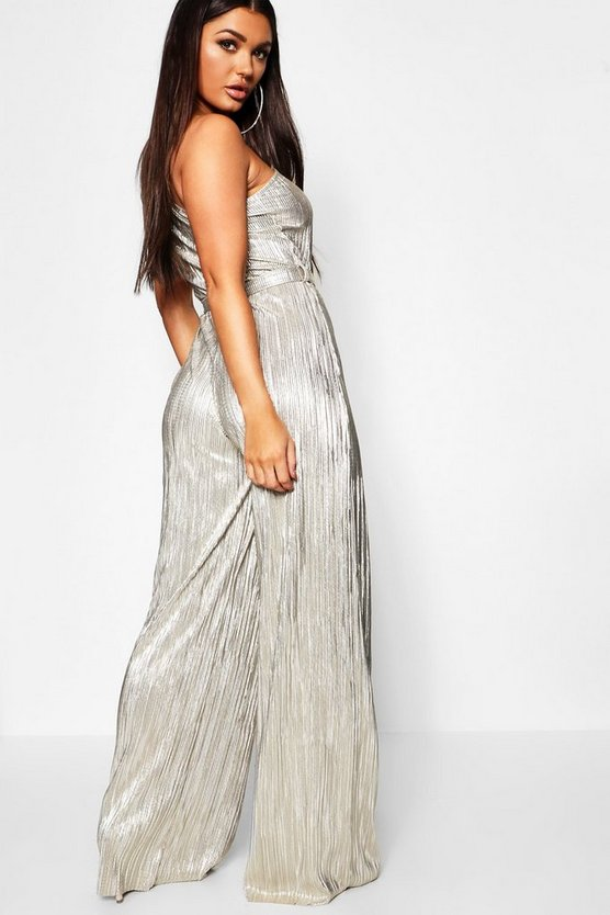 Metallic Plisse One Shoulder Jumpsuit