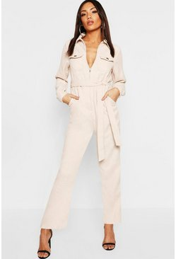 Womens Beige Cord Belted Jumpsuit