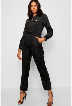 Womens Black Cord Belted Jumpsuit