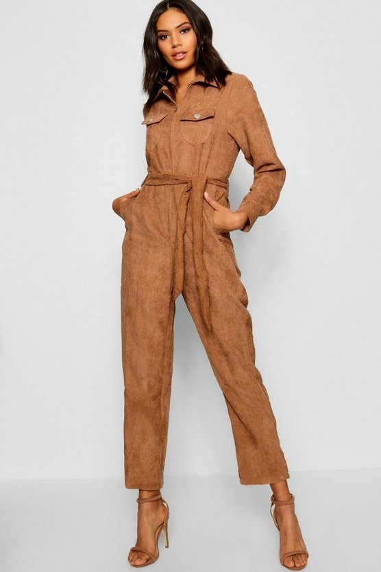 Womens Brown Cord Belted Jumpsuit