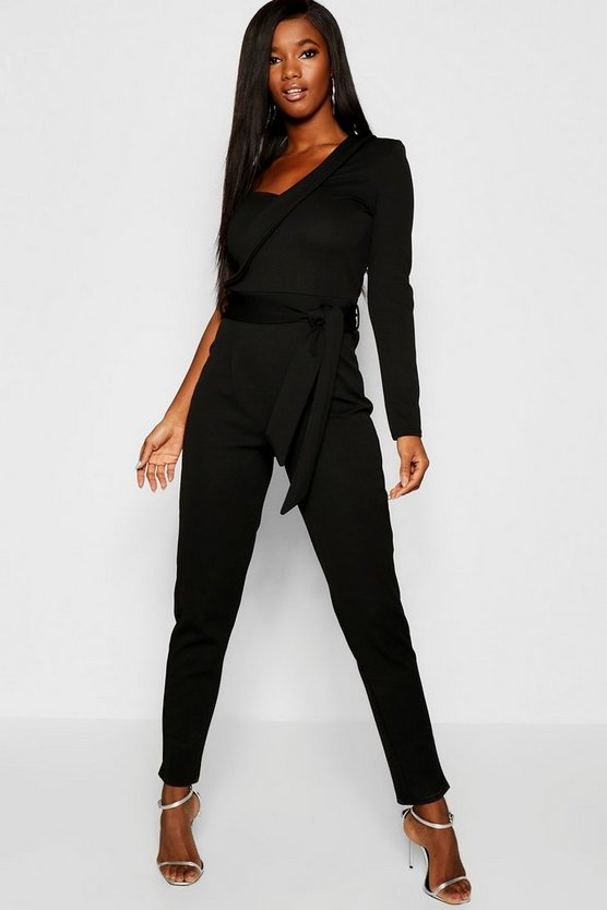 Womens Black Crepe One Shoulder Jumpsuit