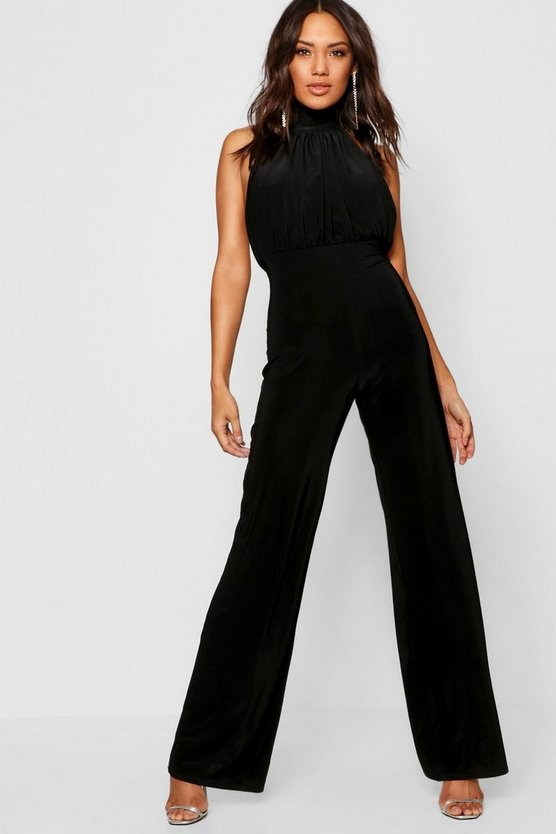 Womens High Neck Slinky Jumpsuit