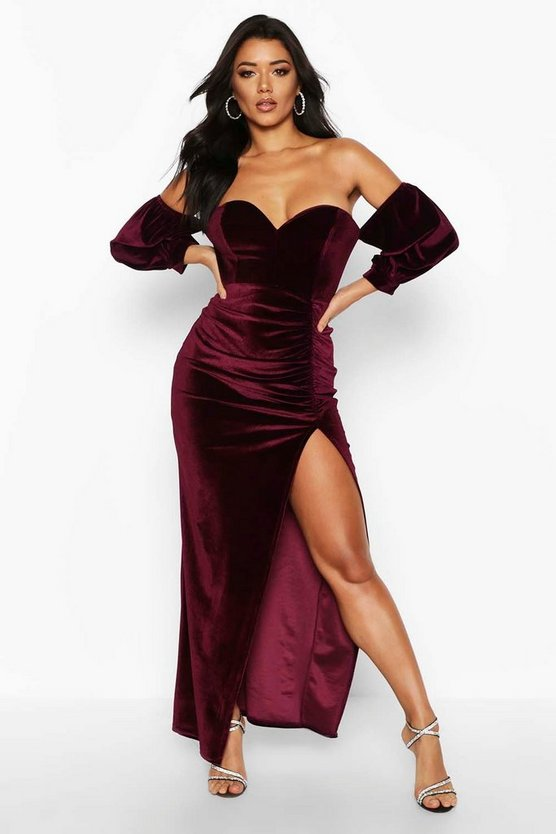 Berry Velvet Off Shoulder Sweetheart Maxi Dress