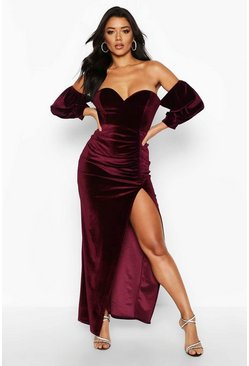 Velvet Off Shoulder Sweetheart Maxi Dress, Berry