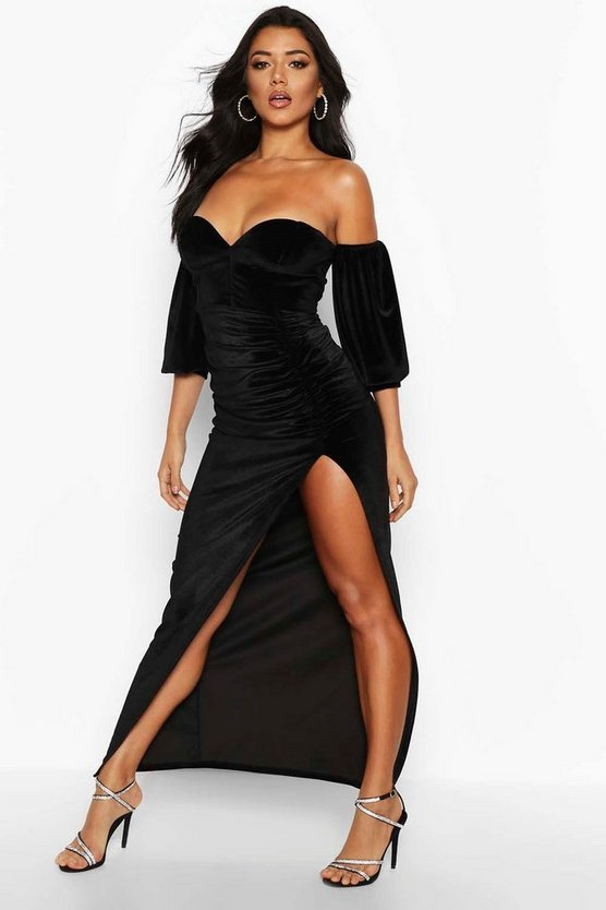 Velvet Off Shoulder Sweetheart Maxi Dress