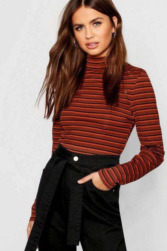 Womens Stripe Rib Long Sleeve High Neck Top