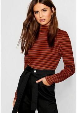 Womens Rust Stripe Rib Long Sleeve High Neck Top
