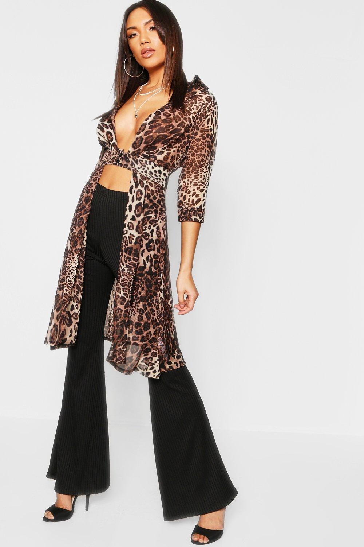 da1cf10df387 Womens Animal Leopard Plunge Neck Split Maxi Shirt