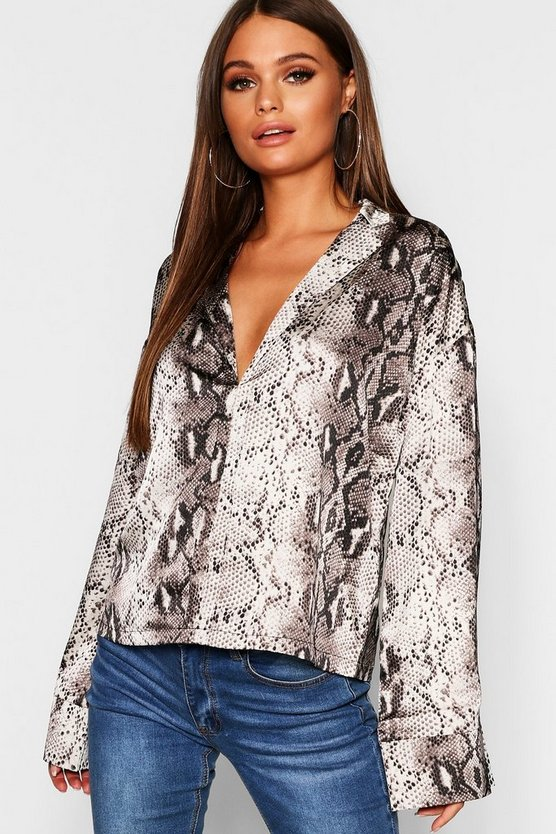 Wide Sleeve Satin Snake Print Shirt, Donna