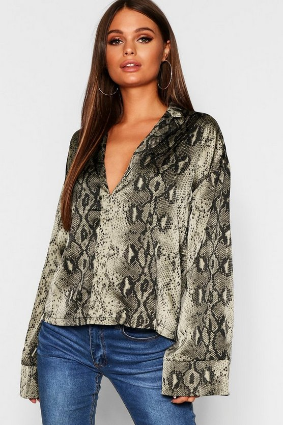 Wide Sleeve Satin Snake Print Shirt