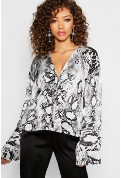 Satin Snake Print Wide Sleeve Shirt, Grey, Donna