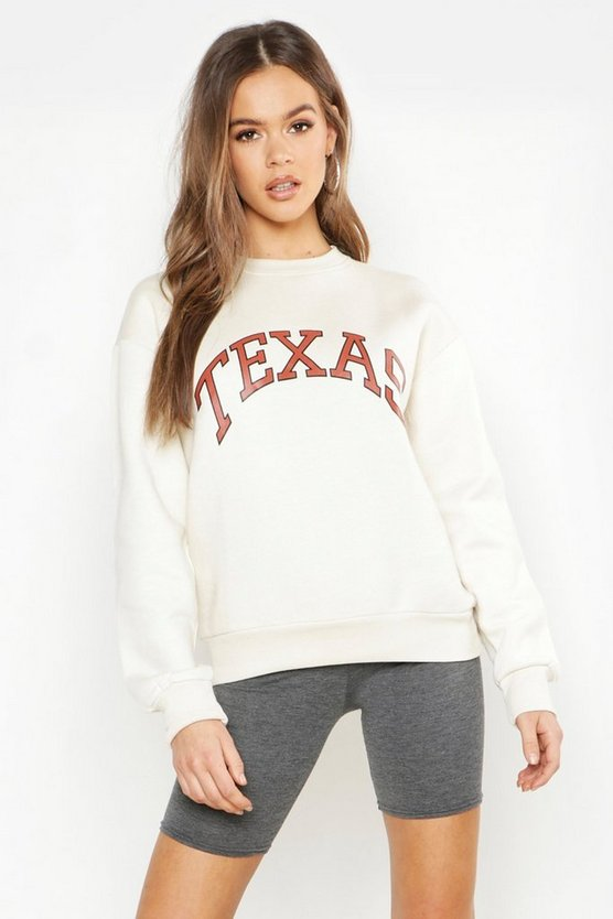 Womens Ecru Texas Oversized Slogan Sweat