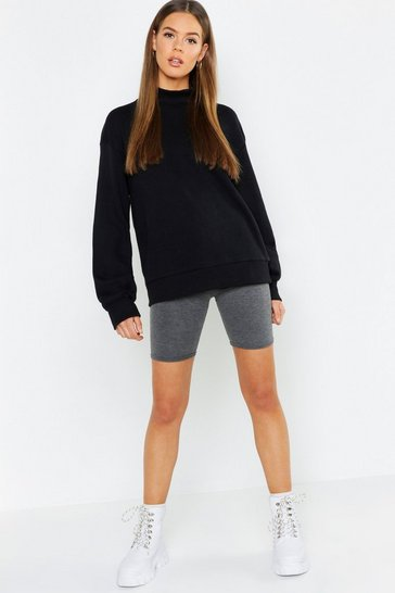 Womens Black Balloon Sleeve Funnel Neck Sweat