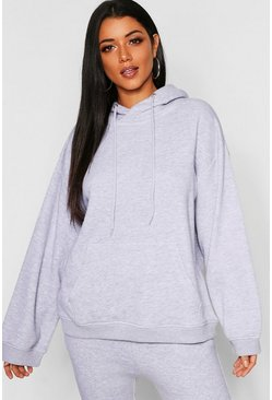 Womens Grey marl Slouch Fit Basic Hoody