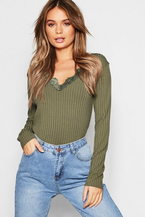 Womens Khaki Long Sleeve Lace Trim Rib T-Shirt