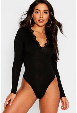 Womens Black Long Sleeve Lace Trim Bodysuit