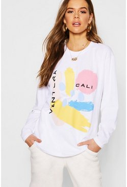 Womens White Abstract Print Long Sleeve T-Shirt