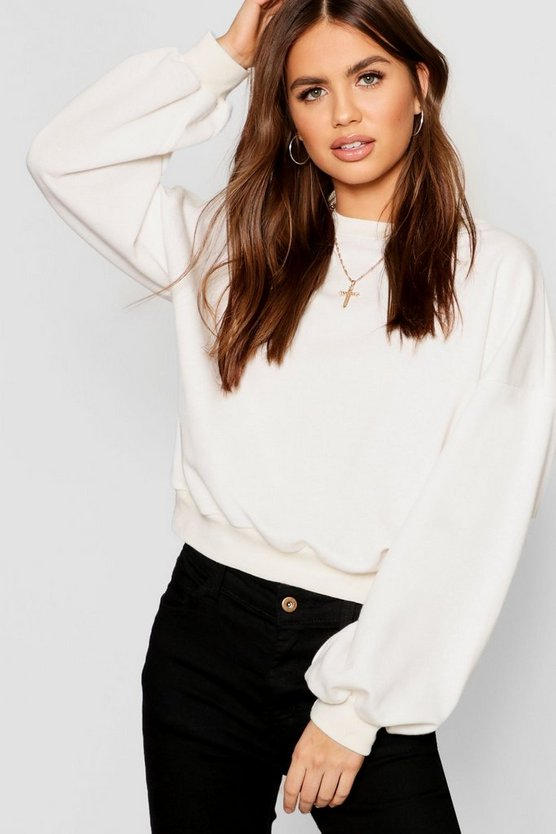 Womens White Drop Shoulder Puff Sleeve Sweat