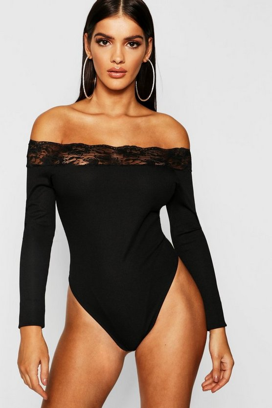 Rib Lace Trim Long Sleeve Bodysuit