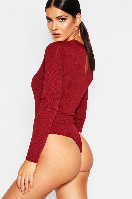 862f1eeb93 Boohoo Womens Rib Long Sleeve Twist Front Bodysuit