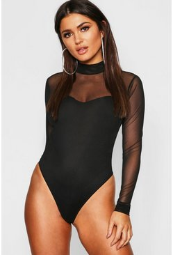 Black Rib Mesh High Neck Long Sleeve Bodysuit