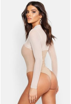 Rib Mesh High Neck Long Sleeve Bodysuit, Stone, Donna