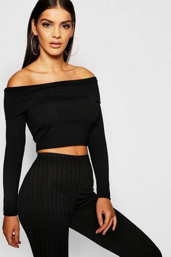 Long Sleeve Jumbo Rib Bardot Crop Top