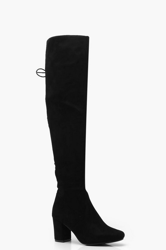 Womens Black Lace Up Over The Knee Boots