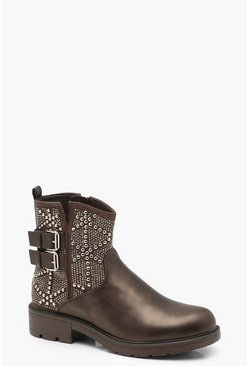 Womens Grey Studded Cut Work Biker Boots